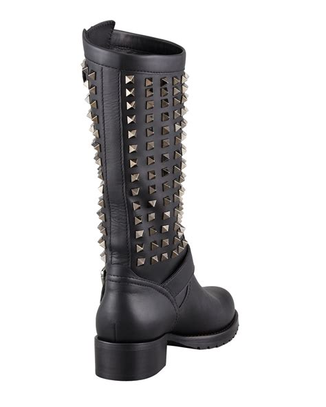 tall motorcycle boots valentino womens noir rockstud tall motorcycle boot faeaa