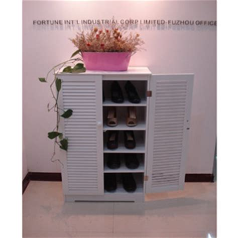 Shoe Storage: Wooden Shoe Cabinet with Louvered Doors HC