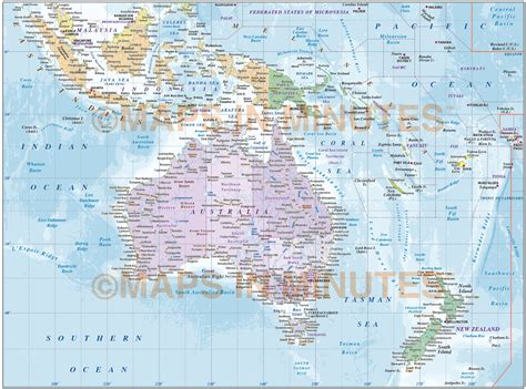 Poster Asia Maps Ukuran A1 digital vector map of australasia region political with contours in illustrator and pdf