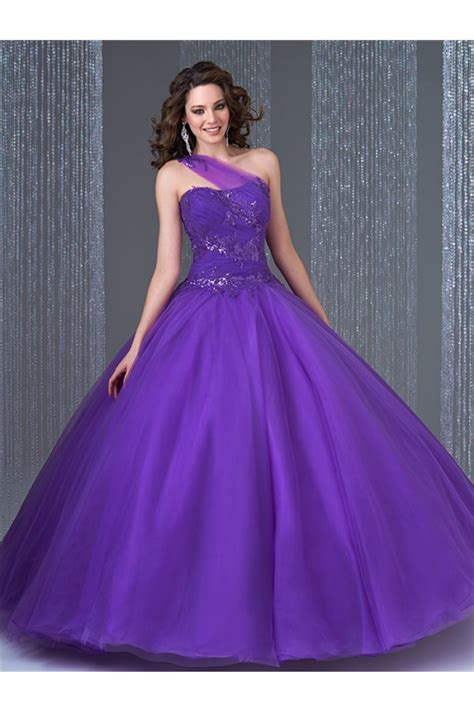 Sequin Gown Couture Dress Gaun Tulle Anak High Fashion gown one shoulder purple tulle sequin quinceanera prom dress