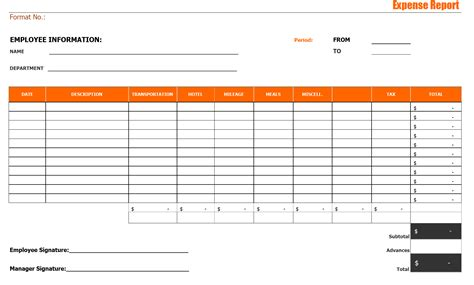 expense format excel expense report format excel pdf sle