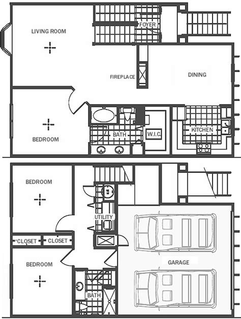 round garage plans three bedrooms two baths townhome with two car garage