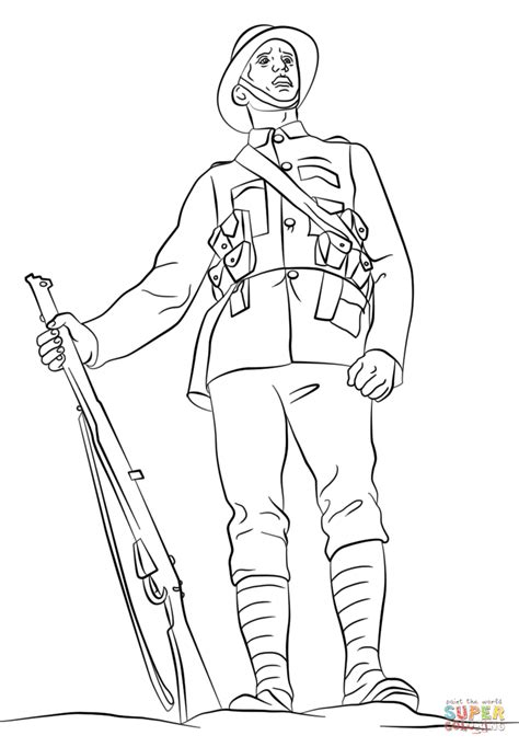 1 Drawing A Day by Wwi Soldier Coloring Page Free Printable