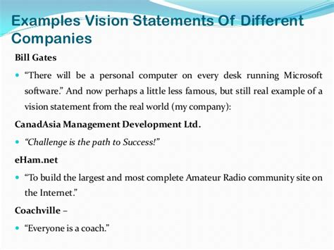 Vision Statement Examples Alisen Berde Business Vision Document Template