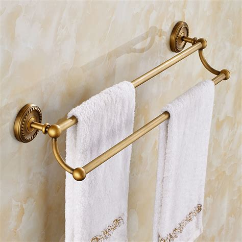 bathroom towel rods brass chrome towel rack double layer towel shelves bathroom hardware accessories top