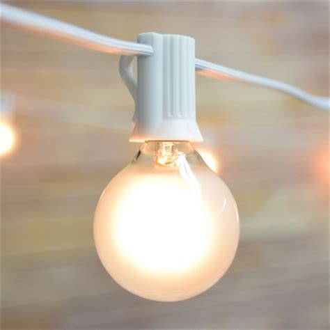25 Socket Outdoor String Light Kit W G40 Globe Frosted White Globe String Lights