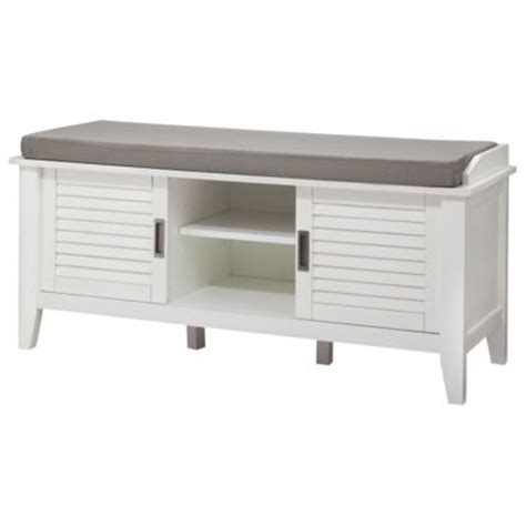 threshold storage bench threshold storage bench with slatted doors white