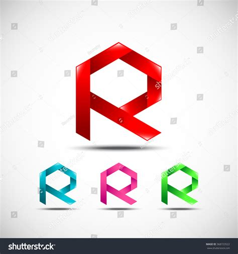 origami letter r abstract letter r logovector origami design stock vector