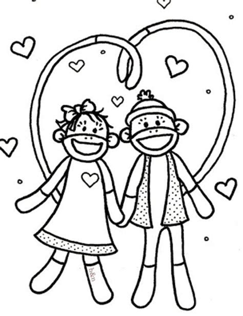 coloring pages of sock monkey hoffee and a nuffin sock monkey love