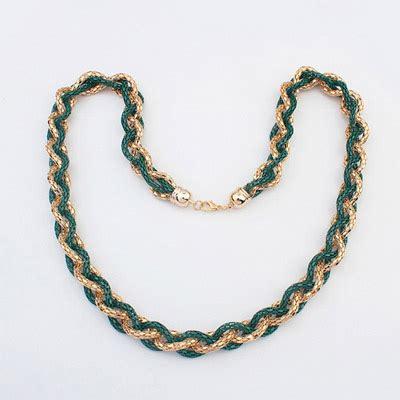 Kalung Korea Choker Pendant Decorated Hollw Out Weaving christenin green hollow out weave simple design alloy chains asujewelry