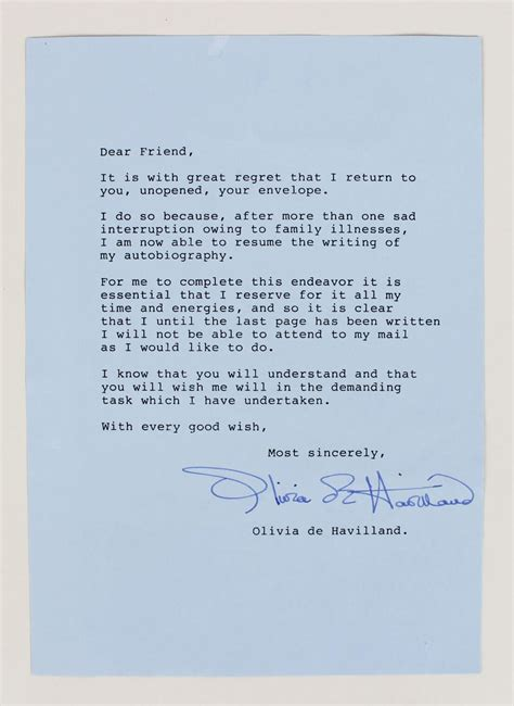 Offer Letter Signed With The Wind De Havilland Signed Typed Letter Jsa Coa Memorabilia Expert