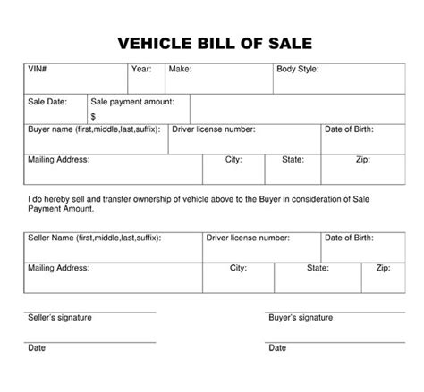 Free Printable Vehicle Bill Of Sale Template Form Generic Motor Vehicle Bill Of Sale Template