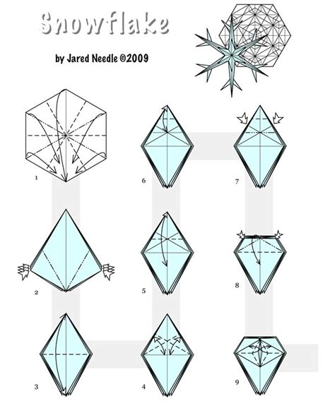 Winter Origami - easy origami snowflakes