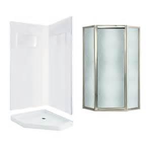 Corner Fiberglass Shower Enclosures Shop Swanstone Veritek White Fiberglass Plastic Wall And