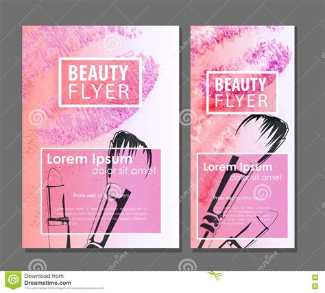 free card templates with lipstick makeup artist business card stock vector illustration of
