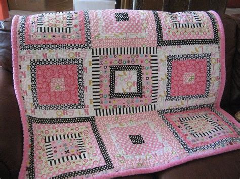 Handmade Quilts Patterns - custom handmade baby quilt pink black white