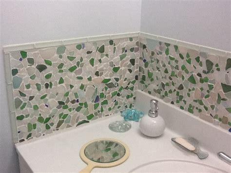 Sea Glass Bathroom Ideas by Diy Glass Backsplash Glass Ideas