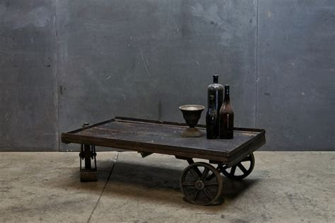 vintage industrial cart coffee table eclectic coffee