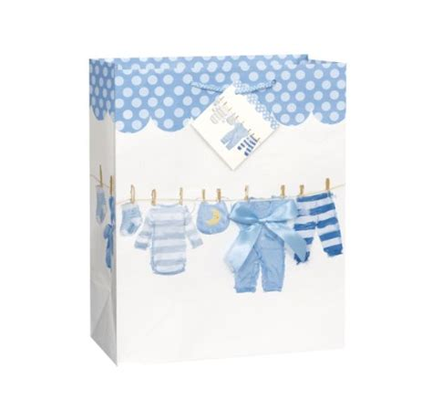 Boy Baby Shower Gift Bags by Large Blue Bow Clothesline Boy Baby Shower Gift Bag