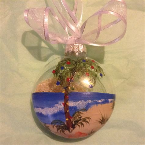 ornament glass beach scene palm tree