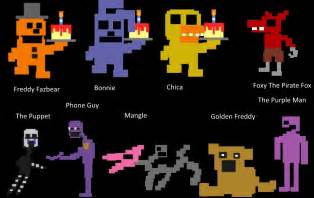 Fnaf characters with names fnaf 8 bit character chart by