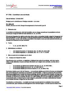 Modèle Servitude Conventionnelle De Passage lexis 360 notaires fiche pratique constituer une