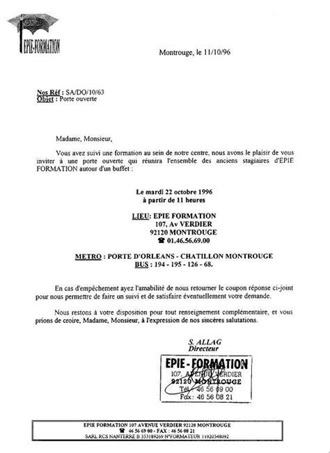 Exemple De Lettre D Invitation De Stage Modele Lettre Invitation Journee Porte Ouverte