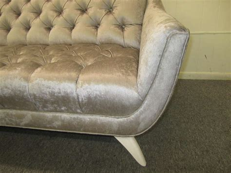 amazing regency modern silver grey velvet tufted sofa mid