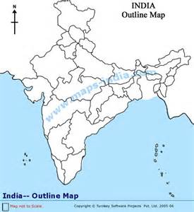 India Physical Map Outline In A4 Size by India Outline Map Outline Map India