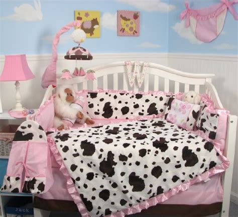 Cow Print Crib Bedding Soho Pink Moo Moo Chenille Baby Crib Nursery Bedding Set 10 Pieces Reversible Into 2 Designs