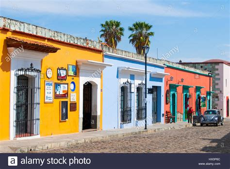 colorful houses road with colorful colonial houses center oaxaca mexico