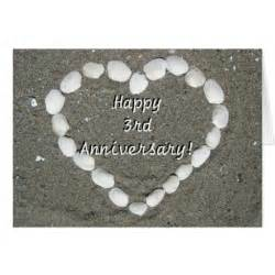 happy 3rd anniversary seashell greeting card zazzle