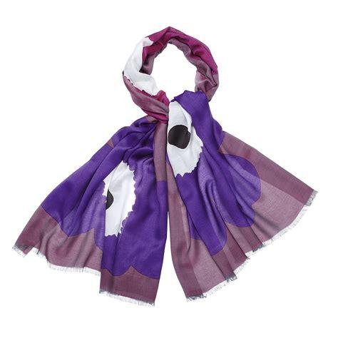 marimekko unikko grande violet purple silk scarf