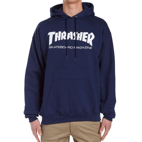 Jaket Hoodie Skate Thrasher Navy thrasher skate mag hoodie navy