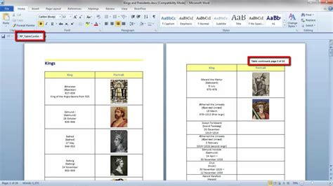 Write Table R by Table Continued Message In A Word Document