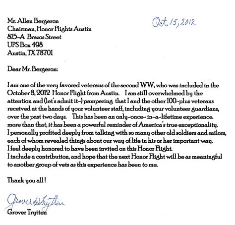 Thank You From Our Wwii Veterans Honor Flight Austin Veteran Letter Template