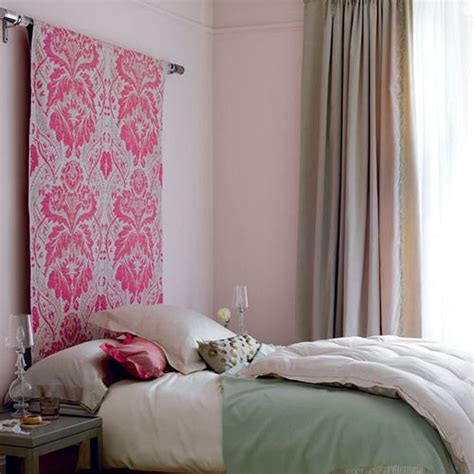 Diy Hanging Headboard by Idea Fabric Or Wallpaper Draped A Dowel For A