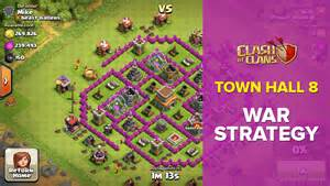 Clash of clans town hall 8 th8 clan war attack strategy