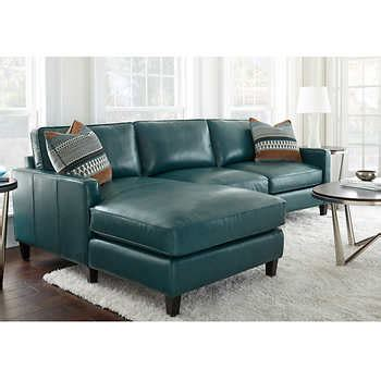 Andersen Top Grain Leather Chaise Sectional Dark Turquoise Top Grain Leather Sofa Costco