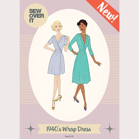 products archive make sewing patterns sew over it 1940 s wrap dress sewing pattern sew over it