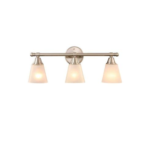 Hton Bay Bathroom Light Fixtures Hton Bay 3 Light Brushed Nickel Vanity Gjk1393a 4 Bn At The Home Depot For The Home