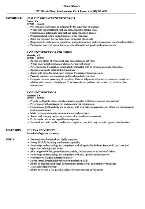 Payment Processor Sle Resume by Payment Processor Resume Sles Velvet