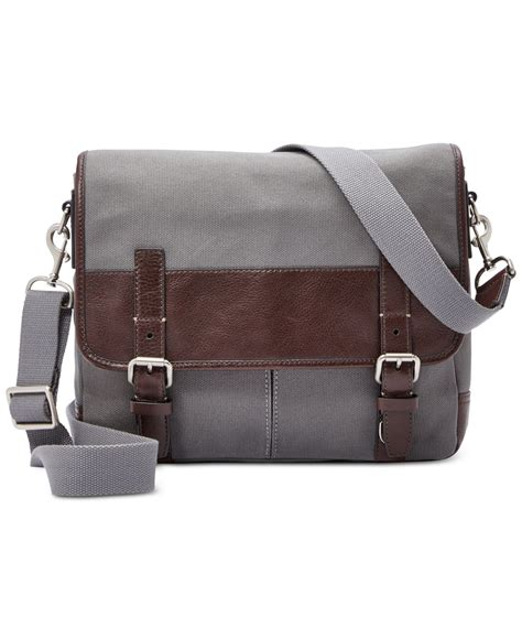 Fossil Satchel Grey 1 fossil canvas small messenger bag in gray for