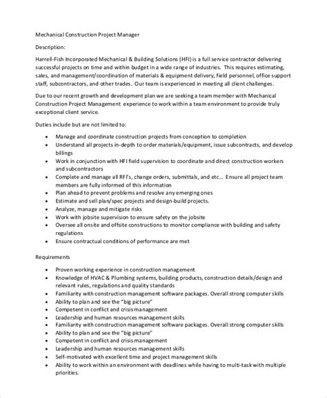 construction description template sle construction project manager description 8