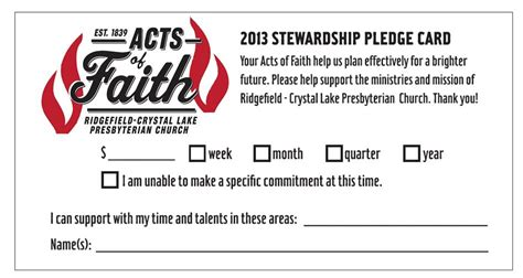 Church Finacial Pledge Cards Template by Ridgefield Lake Presbyterian Church
