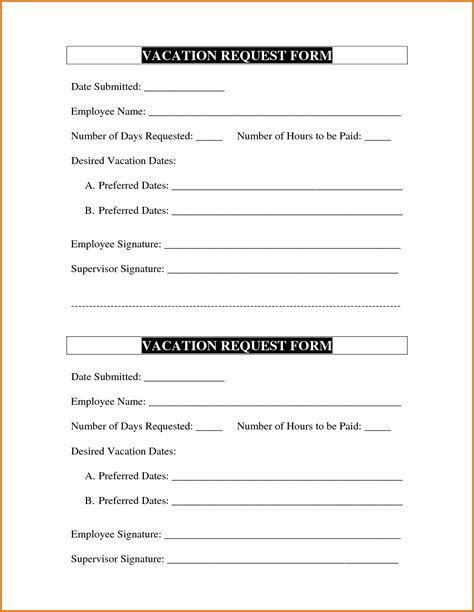 vacation request template vacation request form templatereference letters words