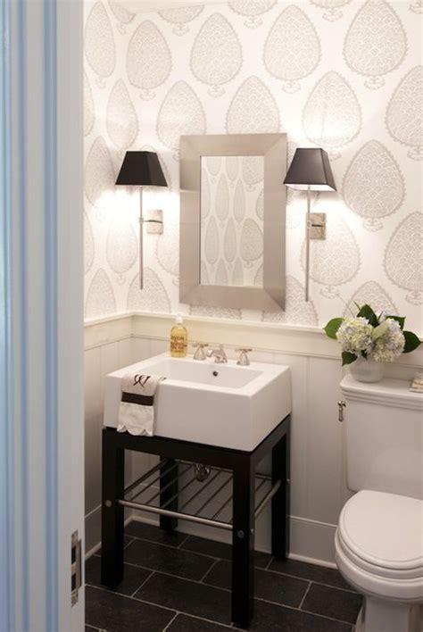 wallpapered bathrooms half bath wallpaper inspiration niche nook