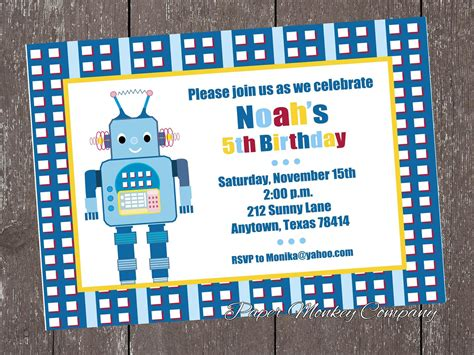 printable robot stationery robot birthday invitations bagvania free printable