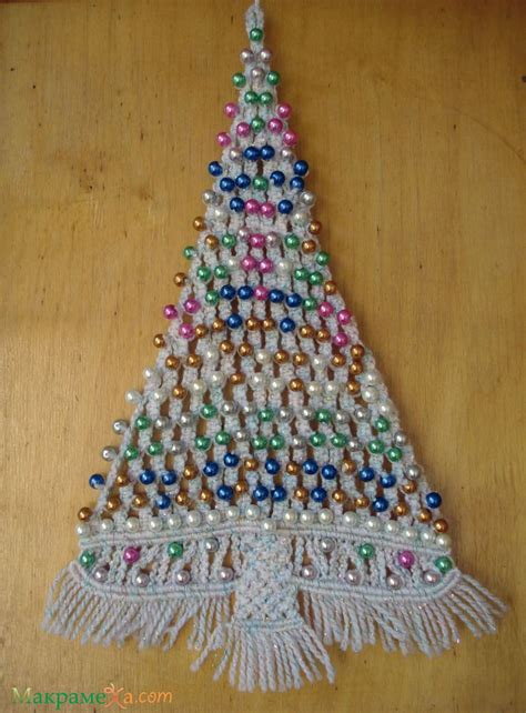 macrame christmas tree ornament wall hanger step by step