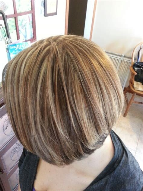 Hair Foils Styles Pictures | heavy foil thinly sliced with blonde and brown on a bob